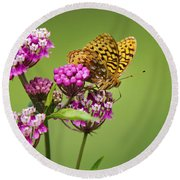 Fritillary Butterfly Square Format Round Beach Towel