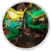 Frog Carrousel Ride Round Beach Towel