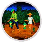 Frog Hunters Round Beach Towel