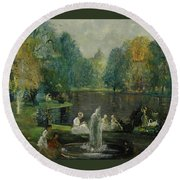 Frog Pond In Boston Public Gardens Round Beach Towel