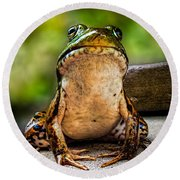 Frog Prince Or So He Thinks Round Beach Towel by Bob Orsillo