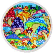 Frogs And Magic Mushrooms Round Beach Towel