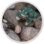 Frogs Imitation And Real  Round Beach Towel