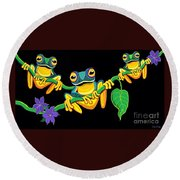 Frogs On Vines Round Beach Towel