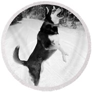 Frolicking In The Snow - Black And White Round Beach Towel by Carol Groenen