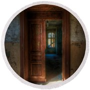From A Door To A Window Round Beach Towel