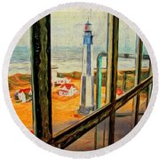 From Cape Henry Lighthouse Round Beach Towel