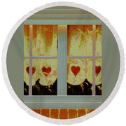 From French Riviera Window With Love Round Beach Towel