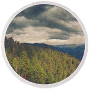 From Moro Rock Of The Sequoias Round Beach Towel