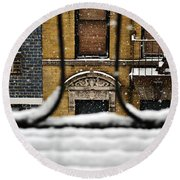 From My Fire Escape - Arches In The Snow Round Beach Towel
