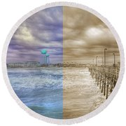 From Past To Present Round Beach Towel
