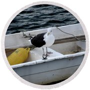 From Rockport Ma A Seagull Chilling Out In A Rowboat Round Beach Towel