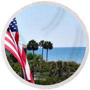 From Sea To Shining Sea Round Beach Towel