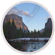From Valley View At Sunset Round Beach Towel