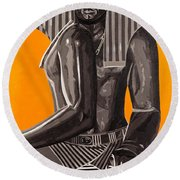 Front And Side Egyptian Pharoah Round Beach Towel