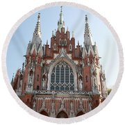 Front Entrance To St Joseph Church Krakow Round Beach Towel