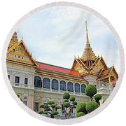 Front Of Reception Hall At Grand Palace Of Thailand In Bangkok Round Beach Towel