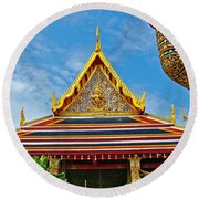 Front Of Royal Temple At Grand Palace Of Thailand In Bangkok Round Beach Towel