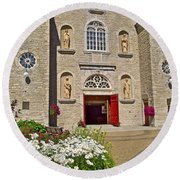 Front Of Sainte-famille Church On Ile D'orleans-qc Round Beach Towel