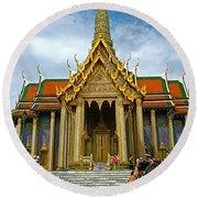 Front Of Thai-khmer Pagoda At Grand Palace Of Thailand In Bangkok Round Beach Towel