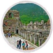 Front Of Theater In Ephesus-turkey Round Beach Towel