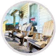Front Porch On An Old Country House 2 Round Beach Towel