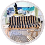 Front Porch On An Old Country House  3 Round Beach Towel