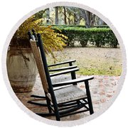 Front Porch Rockers Round Beach Towel