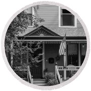 Front Porch Usa Black And White Round Beach Towel