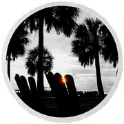 Front Row For Sunset Round Beach Towel