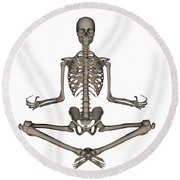Front View Of Human Skeleton Meditating Round Beach Towel
