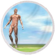 Front View Of Male Musculature Walking Round Beach Towel