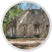 Front View Of The Chapel Of Ease Round Beach Towel