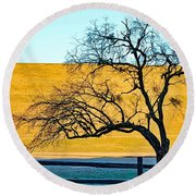 Frost Below The Tree Round Beach Towel