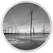 Frost Bite Bw Round Beach Towel