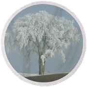 Frost Covered Lone Tree Round Beach Towel
