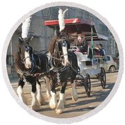 Frost Fair Horses Hastings Round Beach Towel