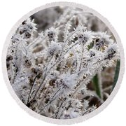 Frost In The Field Round Beach Towel