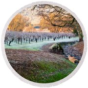 Frost In The Valley Round Beach Towel by Bill Gallagher