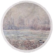 Frost Near Vetheuil Round Beach Towel