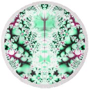 Frost On The Grass Fractal Round Beach Towel