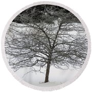 Frost On The Hawthorne Round Beach Towel