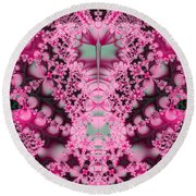 Frost On The Roses Fractal Round Beach Towel