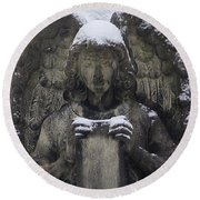 Frosted Stone Angel Round Beach Towel