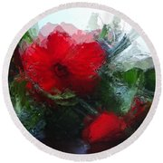 Frosted Hibiscus 3 Round Beach Towel