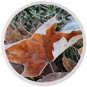 Frosted Leafs Round Beach Towel