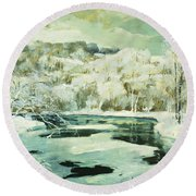 Frosted Trees Round Beach Towel by Jonas Lie