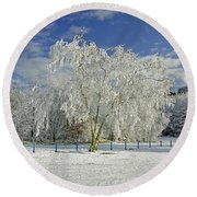 Frosted Trees - Newton Road Park Round Beach Towel