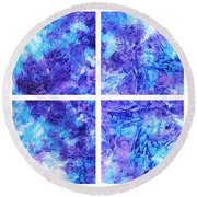 Frosted Window Abstract Collage Round Beach Towel