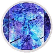 Frozen Castle Window Blue Abstract Round Beach Towel